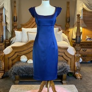 Evan Picone Navy Satin Cocktail Dress Size 8